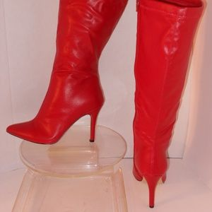 DIBA EAST RED FAUX LEATHER KNEE HIGH BOOTS SIZE 9